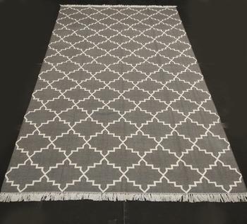 Natural Hand woven Grey Cotton Made Modern Area Rug Flat Woven Home Decor Kilim Rug