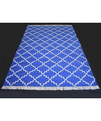 Handmade Abstract Geometric Designer 100% Cotton Blue Color Kilim Rug Home Decorative Rug