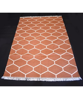 Atractive Persian Designer Cotton Kilim Orange Color Home Decorative Rug Cotton Kilim Rug