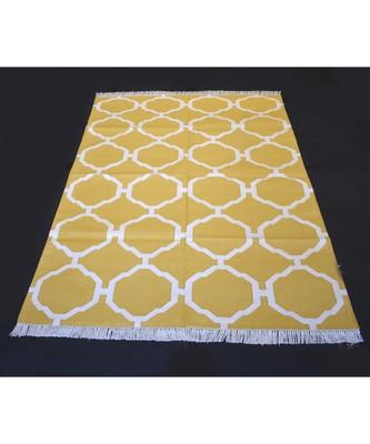 Handwoven Flat Weave Yellow Color Area Kilim Rugs Home Decorative Cotton Kilim Rug