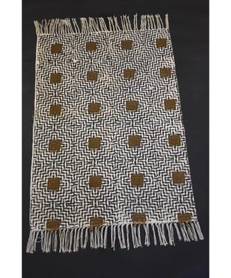 Handmade Banjara Oval Looking Block Print Fabric Kilim Mat Persian Rug Mat