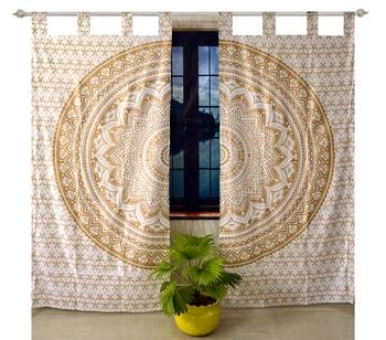 Indian Tab top Curtain Mandala Curtains, 2 Panel Set Mandala Curtain Tab top Curtains, Drapes & Valances, Window Curtain