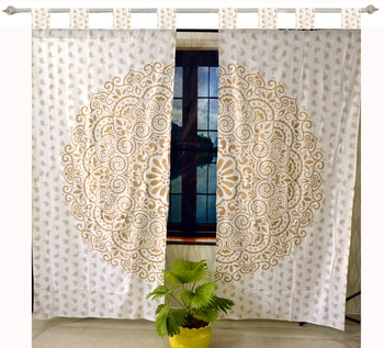 Indian Mandala Curtains Set Decorative Indian Tab top Tapestry Tab Top Curtains Mandala Curtains for Living room