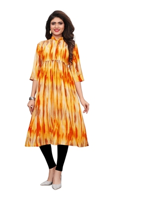 yellow Printed Muslin flair Kurti