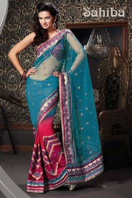 KUNDAN EMBROIDERED DESIGNER SAREE 2413