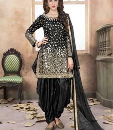 Black mirror taffeta salwar with dupatta