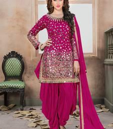 Pink mirror taffeta salwar with dupatta
