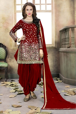 Dark Red mirror taffeta salwar with dupatta