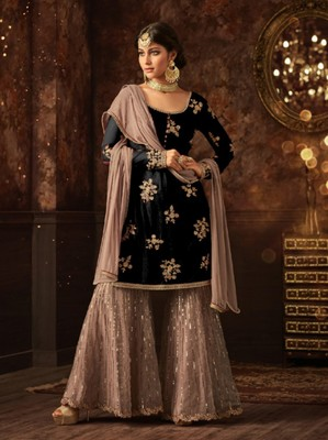 Black embroidered net salwar with dupatta
