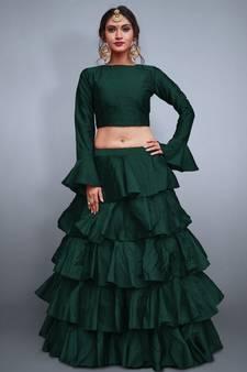 5325604f68e Buy Green plain silk semi stitched lehenga crop-top-lehenga online
