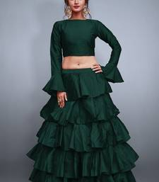 Green plain silk semi stitched lehenga