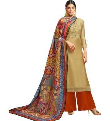 e415013ec7 Beige & Light Brown Chanderi Silk Women's Palazzo Suit With Digital Printed  Dupatta