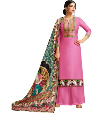 Pink Chanderi Silk Women's Palazzo Suit With Digital Printed Dupatta