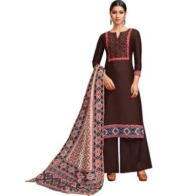 Brown Chanderi Silk Women's Palazzo Suit With Digital Printed Dupatta