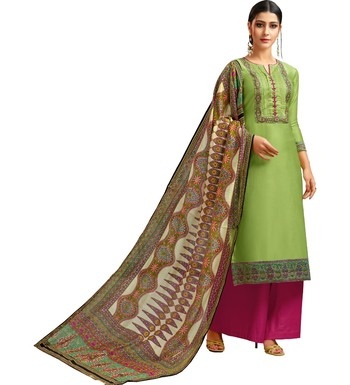 Parrot Green & Rani Pink Chanderi Silk Women's Palazzo Suit With Digital Printed Dupatta