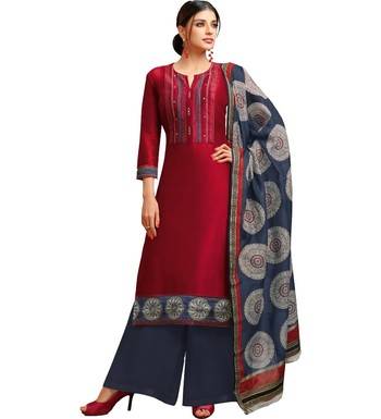 Maroon & Blue Chanderi Silk Women's Palazzo Suit With Digital Printed Dupatta