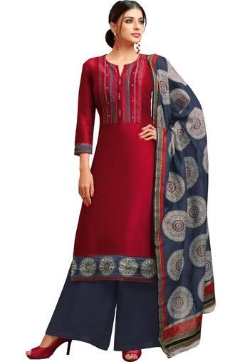 45c2fe6433 Maroon & Blue Chanderi Silk Women's Palazzo Suit With Digital Printed  Dupatta