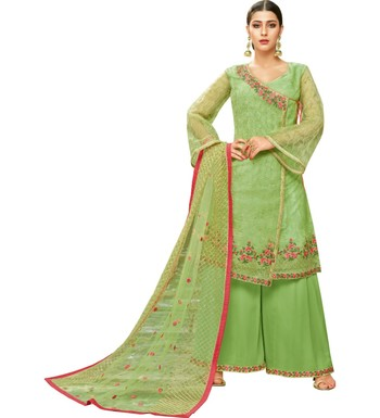 Parrot Green Heavy Embroidered Oragnza Women's Semi-Stitched Palazzo Suit