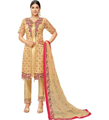 Beige Heavy Embroidered Oragnza Women's Semi-Stitched Straight Pant Suit