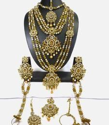 Royal Antique Gold Plated Multi Liner Bridal Dulhan Wedding Jewellery Set