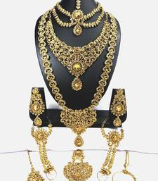 Royal Antique Gold Plated Golden Stone Work Bridal Dulhan Wedding Jewellery Set