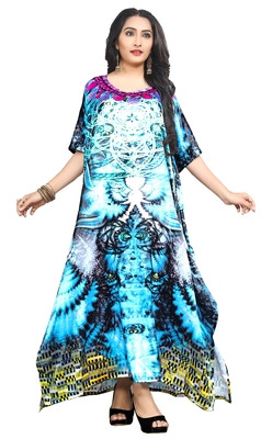Multicolor printed satin islamic-kaftans