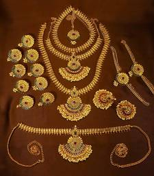 Designer Gold Plated Kempu Green Bridal Dulhan Wedding Jewellery Set