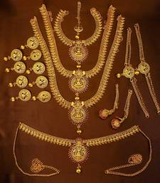 Designer Gold Plated Kempu Bridal Dulhan Wedding Jewellery Set
