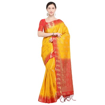 Yellow woven silk blend saree with blouse