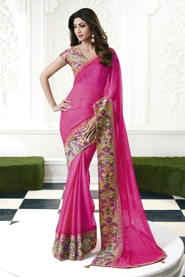 9fe1c79a80ad4 Pink printed chiffon saree with blouse - Lilots - 2794386