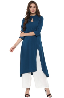 Teal-blue printed crepe kurti