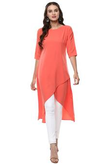 7b66741f37 Pink Kurti Online   Buy Plain Pink Kurtis with Embroidery Neck ...