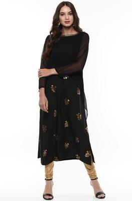 Black printed crepe kurti