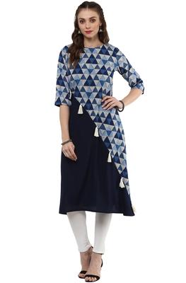 Navy-blue printed crepe kurti