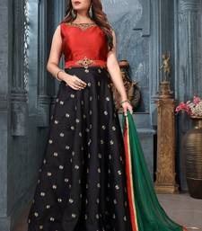Buy Black silk embroidered stitched lehenga with dupatta readymade-lehenga-cholis online