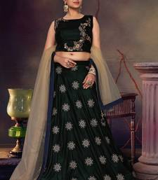 Dark-green velvet heavy embroidery stitched lehenga with dupatta