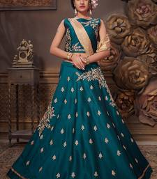 Dark-turquoise bhagalpuri silk heavy embroidery stitched lehenga with dupatta