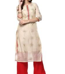 Cream printed chanderi kurti