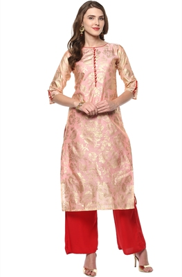 Light-pink printed chanderi kurti