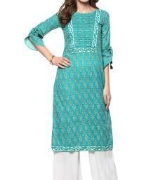 Turquoise printed cotton kurti