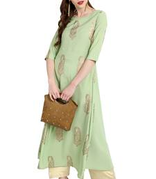 Light-green printed crepe kurti