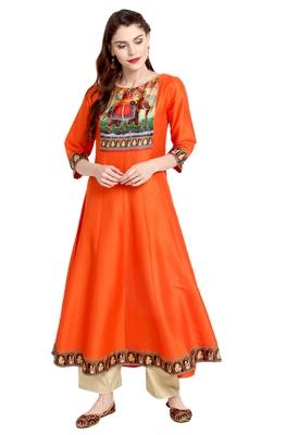 Orange printed silk kurti