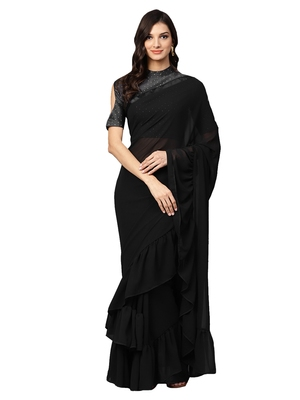 Inddus Black Georgette Solid Ruffle Saree With Blouse