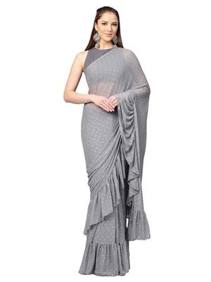 Inddus Grey Chiffon Embellished Ruffle Saree with Blouse