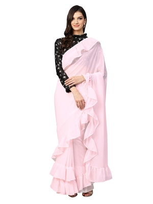 Inddus Light Pink Georgette Solid Ruffle Saree with Blouse