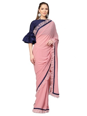 Inddus Pink Net Solid Ruffle Saree with Blouse