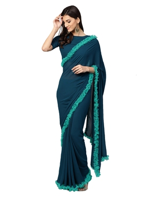 Inddus Teal Green Net Solid Ruffle Saree with Blouse