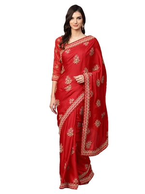 Inddus Red Silk Blend Embellished Saree With Blouse
