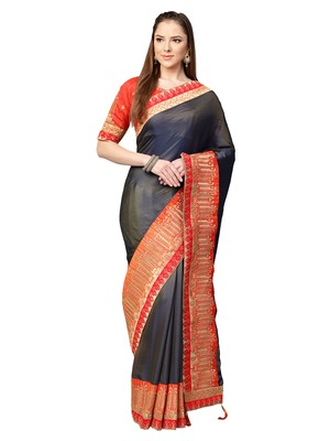 Inddus Grey Satin Silk Embroidered Saree with Blouse