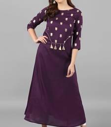 Purple printed silk kurti